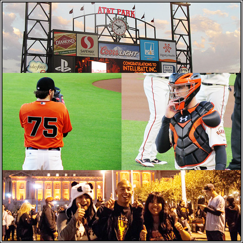 A selection of random photos I took at AT&T Park, plus my siblings and I at the Civic Center after the Giants won the World Series.