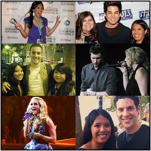 "At events, concerts, and productions I've attended this year, from left to right, clockwise: me at the 'White Frog' premiere at the 2012 San Francisco International Asian American Film Festival, my friend Mel and me with Adam Lambert at his STAR 101.3 show, Phillip Phillips and Elise Testone at the American Idol Live Tour in San Jose, me and Max Quinlan (""Marius"") after 'Les Miserables' in SF, Carrie Underwood in San Jose, and me and my sister with Scott J. Campbell (""Tunny"") after 'American Idiot' in SF."