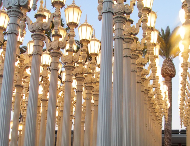 The Urban Lights outside of the Los Angeles County Museum of Arts.