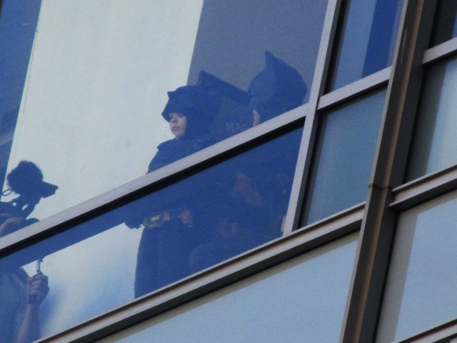 Crappy snapshot I took of Batkid and Batman looking out to the Union Square crowd.