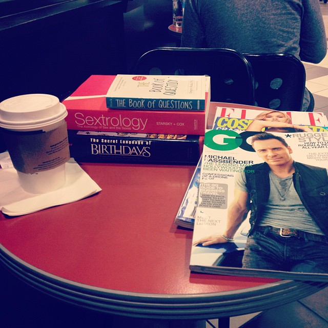 Coffee, books, and magazines at a bookshop in the evening: A good method of relaxation that I don't do often enough.