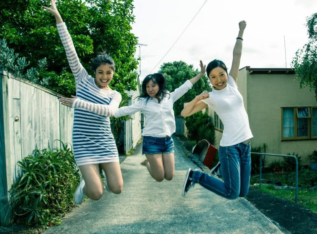 The ladies of the New Zealand webseries 'Flat 3' - Jessica (JJ Fong), Perlina (Perlina Lau), and Lee (Ally Xue) (photo credit: Steve Chow)