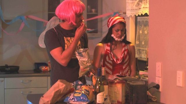 Jessica and a guest awkwardly interact in Episode 4, 'The Flat Warming.' (image source: Flat3Webseries.com)