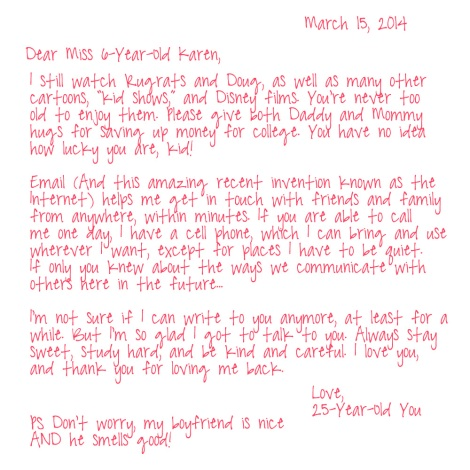25-Year-Old Karen to 6-Year-Old Karen - Letter 2