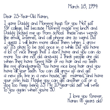 6-Year-Old Karen to 25-Year-Old Karen - Letter 3