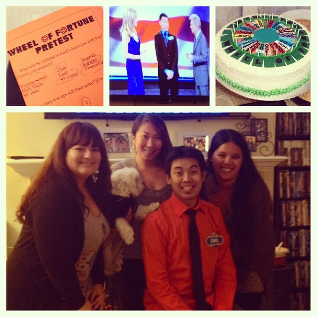 Emil and I with our friends Emilia and Kelly (And Kelly's doggie Meeko!) at his 'Wheel of Fortune' viewing party. Check out that cake! I also got the most answers right on that pretest. (photo credit: My Instagram)