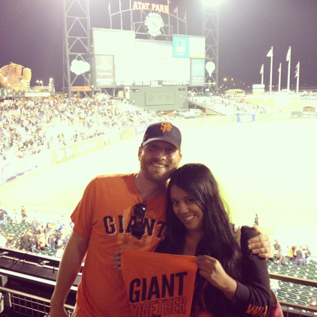 My boyfriend's friend hooked us up with tickets to tonight's #SFGiants / Dodgers game at the last minute. Happiness all around for a great game and win and the best kind of date. Also, it was #SFGSocial Night and I would've been all over it, but like the last game I went to where they also won, I think me not Tweeting and Facebooking about the game before or during it is better for the Giants winning. #superstitious #BeatLA