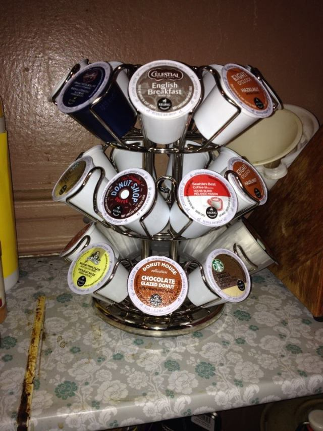 A glimpse of my current K-cup collection displayed in the carousel given to me by Influenster.