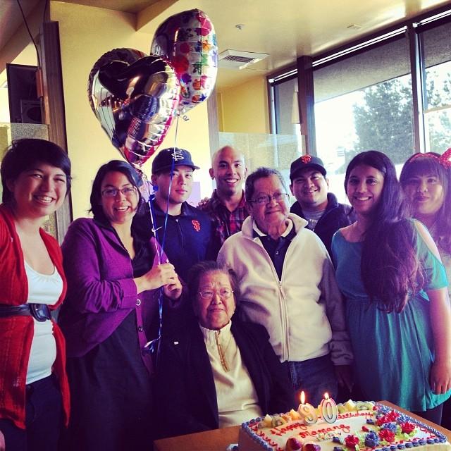 Original IG caption: Happy 90th birthday to my Mamang! We love you!
