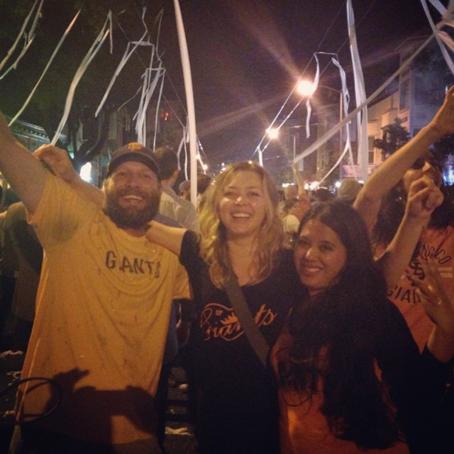 Part of Lower Haight got TPed hard but so much happiness shared last night with strangers and loved ones to celebrate a wonderful moment. What a season #SFGiants. You are a special team and I'm so proud to call you my faves! Thanks for making it #3in5. See you at the parade! #EvenYearMagic #dynasty #TaylorSwiftCurseIsUnbroken