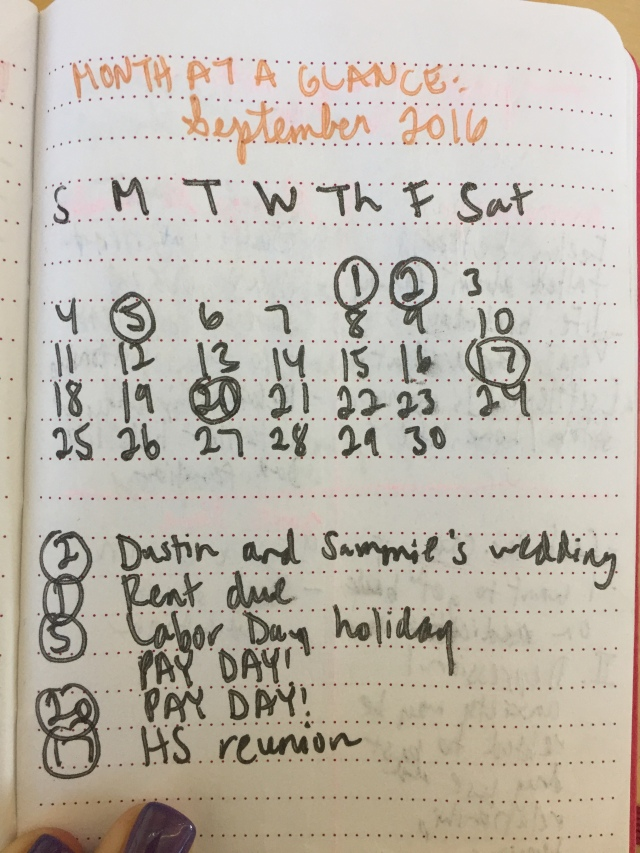 Month-at-a-Glance - Bullet Journal